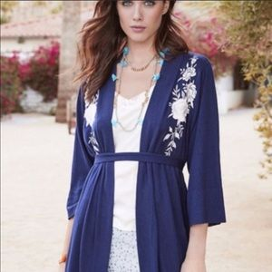 JOHNNY WAS long navy embroidered kimono XL NWT 398